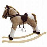 Dřevěné hračky Bino Dřevěný houpací kůň plyšový Max