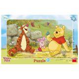Papírové puzzle 15 dílků Medvídek PÚ mezi motýly