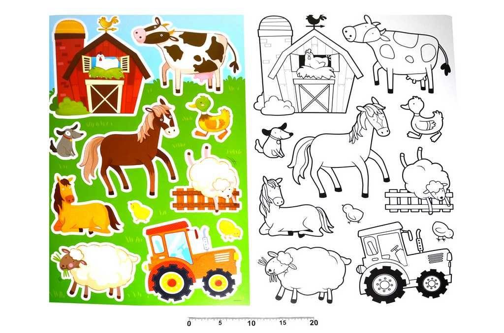Dřevěné hračky Dekorace nálepky na zeď omalovánky Farma Wiky