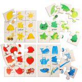 Dřevěné hračky Bigjigs Toys Dřevěné didaktické puzzle základní barvy
