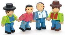 Dřevěné hračky Jeujura 4 dřevěné pohyblivé figury stavebnic