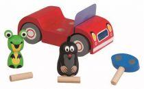 Dřevěné hračky Detoa Dřevěné auto červené - Krtek na výletě