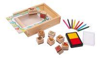 Dřevěné výtvarné hračky - Set razítka farma