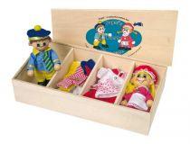 Dřevěné hračky - Šatník pro panenky + 2 panenky