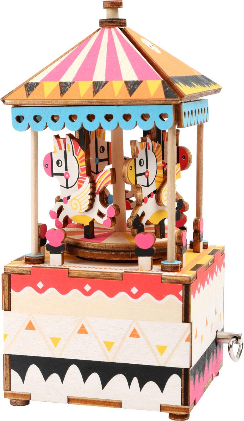 Dřevěné hračky Small Foot Dřevěná stavebnice muzikální dekorace koníčkový kolotoč Small foot by Legler