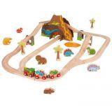 Dřevěné hračky Bigjigs Rail Dřevěná vláčkodráha dinosauří
