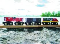 Dřevěné hračky Bigjigs Rall CN nákladní vlak + koleje Bigjigs Rail