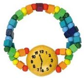 Dřevěné hračky Detoa Dětský náramek hodinky duhové