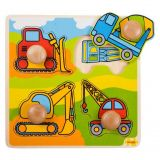 Dřevěné hračky Bigjigs Toys Vkládací puzzle stavební stroje