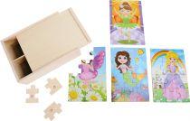 Small Foot Dřevěné puzzle 4v1 v boxu  pro dívky