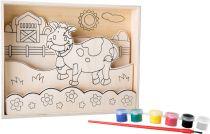 Small Foot Dřevěný barevný 3D obrázek kravička