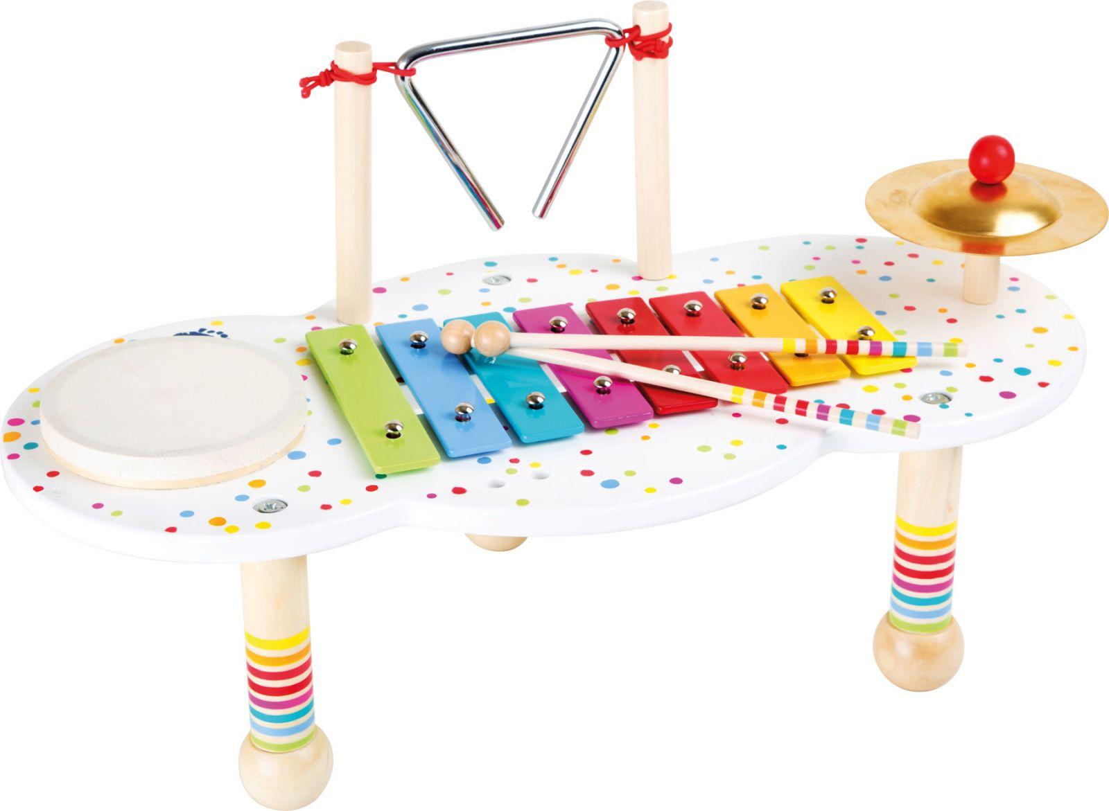 Dřevěné hračky Small Foot Dřevěný muzikální hudební stoleček s puntíky Small foot by Legler