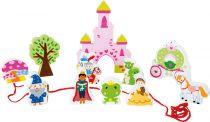 Small Foot Dřevěný navlékací hrací set pohádkový zámek