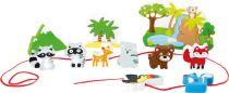 Small Foot Dřevěný navlékací hrací set safari