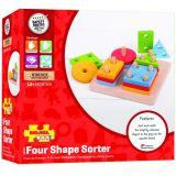 Dřevěné hračky Bigjigs Baby Nasazování barevných tvarů na tyče Bigjigs Toys