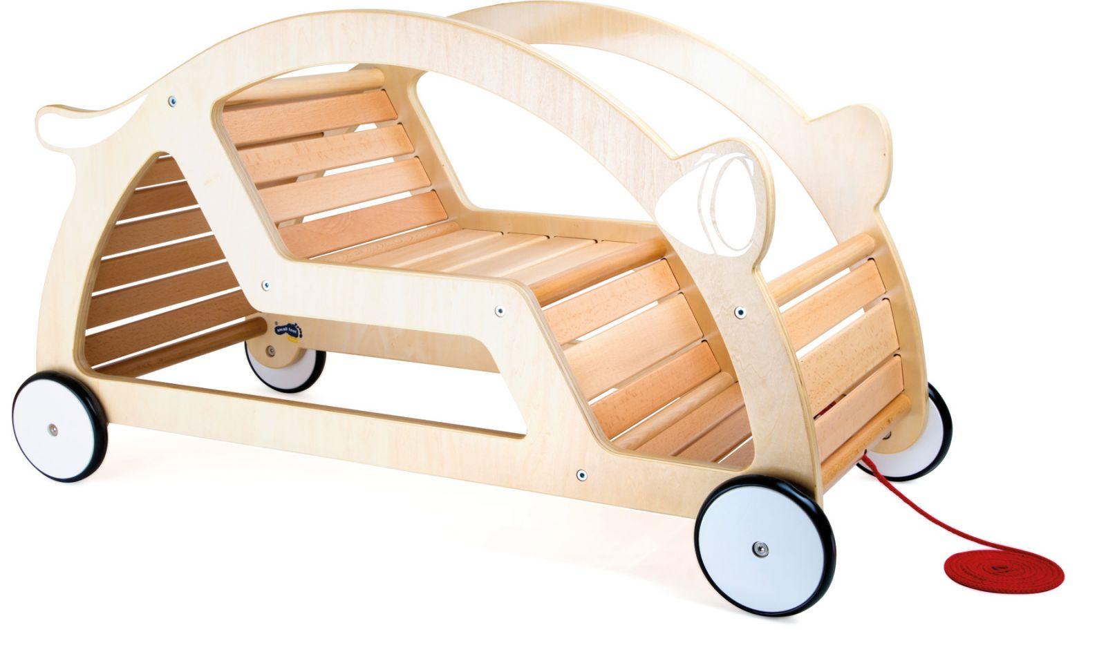 Dřevěné hračky Small Foot Dřevěné tahací a houpací auto 2v1 sestavené Small foot by Legler