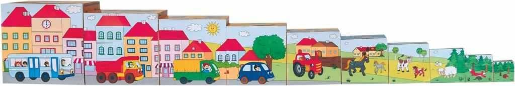 Dřevěné hračky Woody Obrázkové kostky 5 motivů
