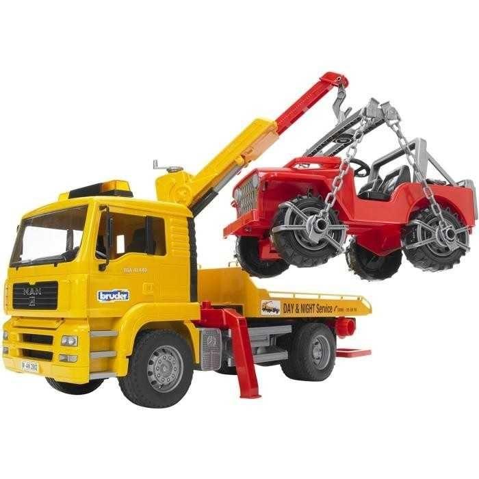 Dřevěné hračky Bruder Nákladní auto MAN odtah + jeep
