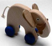 Dřevěné hračka na kolečkách Slon