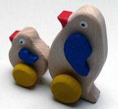 Dřevěné hračka na kolečkách Tučňáci