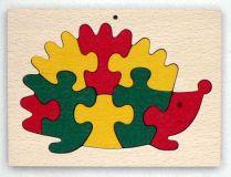 Dřevěné hračky - vkládací puzzle - Ježek v rámečku