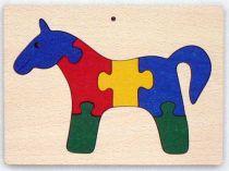 Dřevěné hračky - vkládací puzzle - Kůň v rámečku