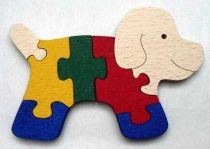 Dřevěné hračky - vkládací puzzle - Pejsek bez rámu