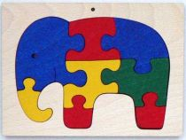Dřevěné hračky - vkládací puzzle - Slon v rámečku