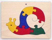 Dřevěné hračky - vkládací puzzle - Šnek v rámu