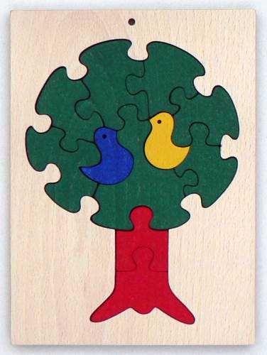 Dřevěné hračky Dřevěné hračky - vkládací puzzle - Strom v ráměčku Makovský