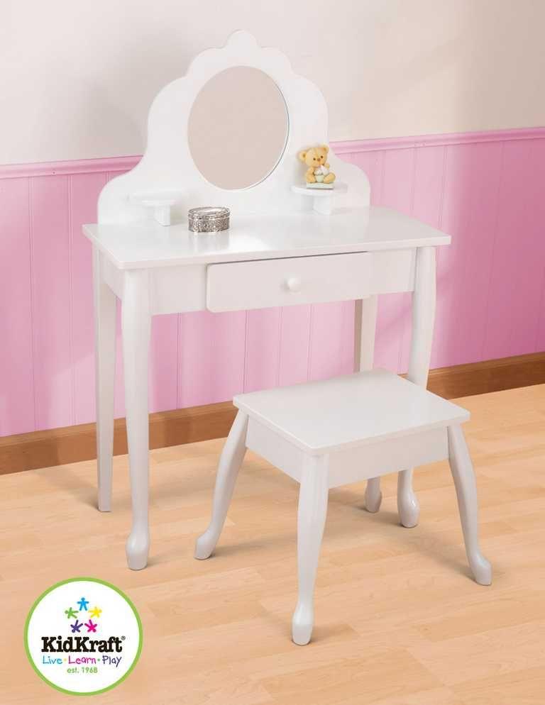 Dřevěné hračky KidKraft Střední kosmetický stoleček s židličkou