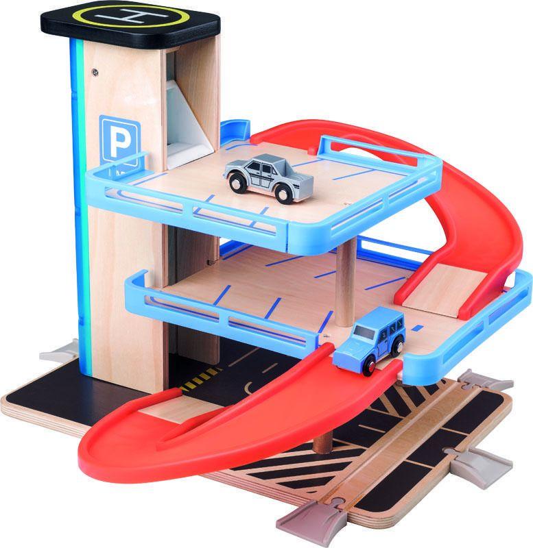 Dřevěné hračky Woody Garáž s výtahem a příslušenstvím