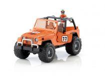 Bruder - oranžové auto jeep s řidičem