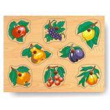 Dřevěné vkládací puzzle ovoce na stromě