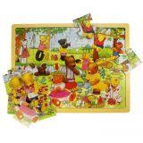 Dřevěné hračky Bigjigs Toys Dřevěné puzzle medvědí piknik 24 dílků