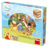 Dřevěné hračky Dino Dřevěné obrázkové kostky Medvídek Pú 12ks