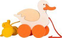 Dřevěné hračky Fauna Dřevěné tahací hračky z masivu kačena s káčátkem