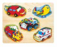 Dřevěné hračky Dřevěné hračky - Hrací puzzle na desce - doprava Bino
