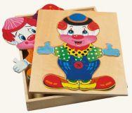 Dřevěné hračky Bino Dřevěná šatní skříň velká - klaun