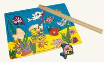 Dřevěné hračky Bino Magnetické akvárium chytání rybiček
