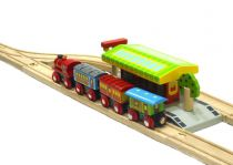 Dřevěné hračky Bigjigs Rail set nádraží se 2 nástupišti a kolejemi