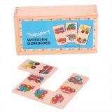 Dřevěné hračky Bigjigs Toys Dřevěné domino dopravní prostředky
