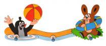 Dřevěné hračky DoDo Dřevěný 3 věšáček Krtek a zajíc u vody