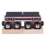 Dřevěné hračky Bigjigs Rail Dlouhý vagónek s uhlím + 2 koleje