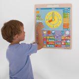 Dřevěné hračky Bigjigs Toys Anglický magnetický kalendář s hodinami