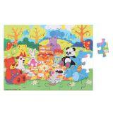 Dřevěné hračky Bigjigs Toys Dřevěné puzzle piknik zvířátek 48 dílků