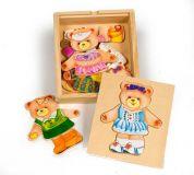 Dřevěné hračky Bigjigs Toys Oblékací puzzle Paní medvědice