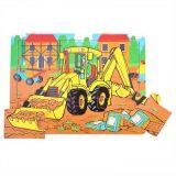 Dřevěné hračky Bigjigs Toys Dřevěné puzzle bagr 9 dílků
