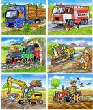 Dřevěné hračky Dřevěné obrázkové kostky kubusy - Mašinka - 12 kostek Topa