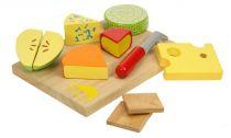 Dřevěné hračky Bigjigs Toys Set dřevěých potravin sýry na desce
